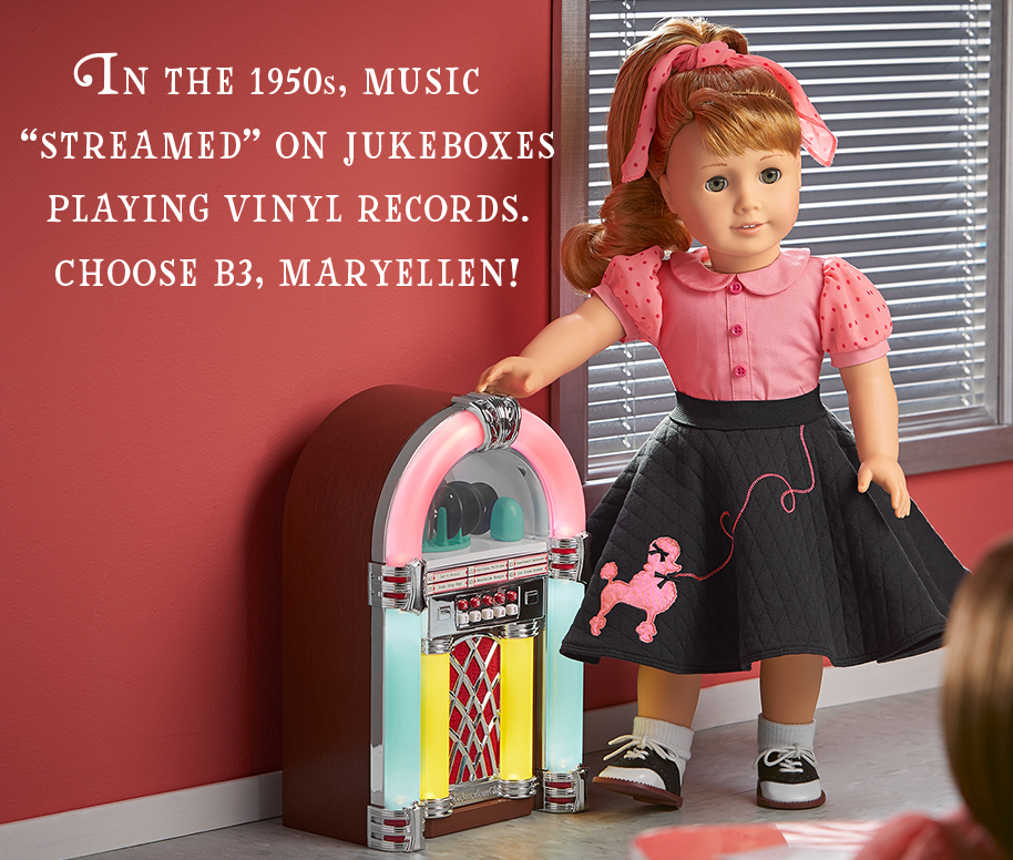 In the 1950s, music 'streamed' on jukeboxes playing vinyl records. Choose B3, Maryellen!
