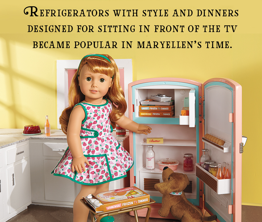Refrigerators with style and dinners designed for sitting in front of the TV became popular in Maryellen's time.